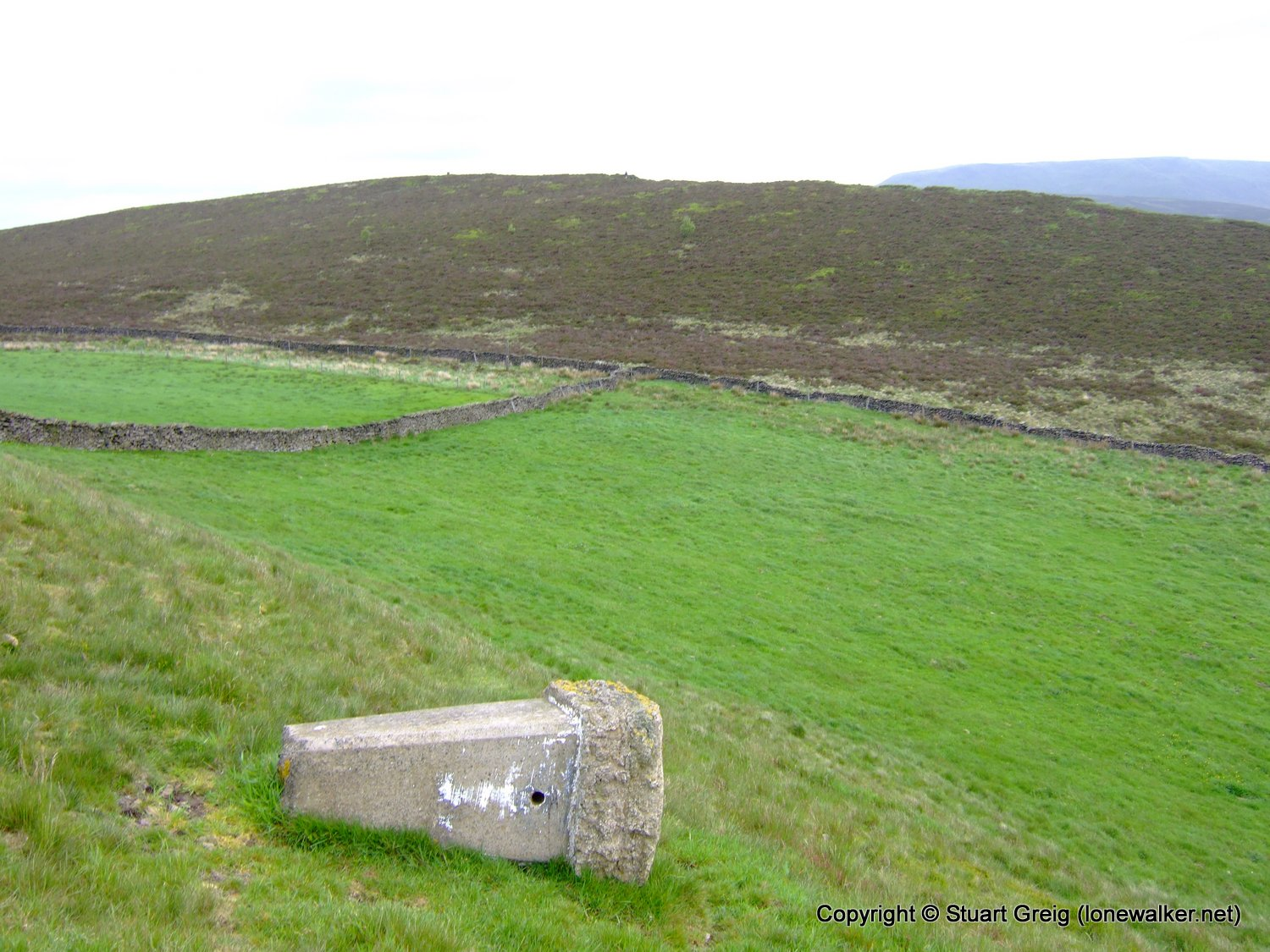The toppled trig point on Lantern Pike