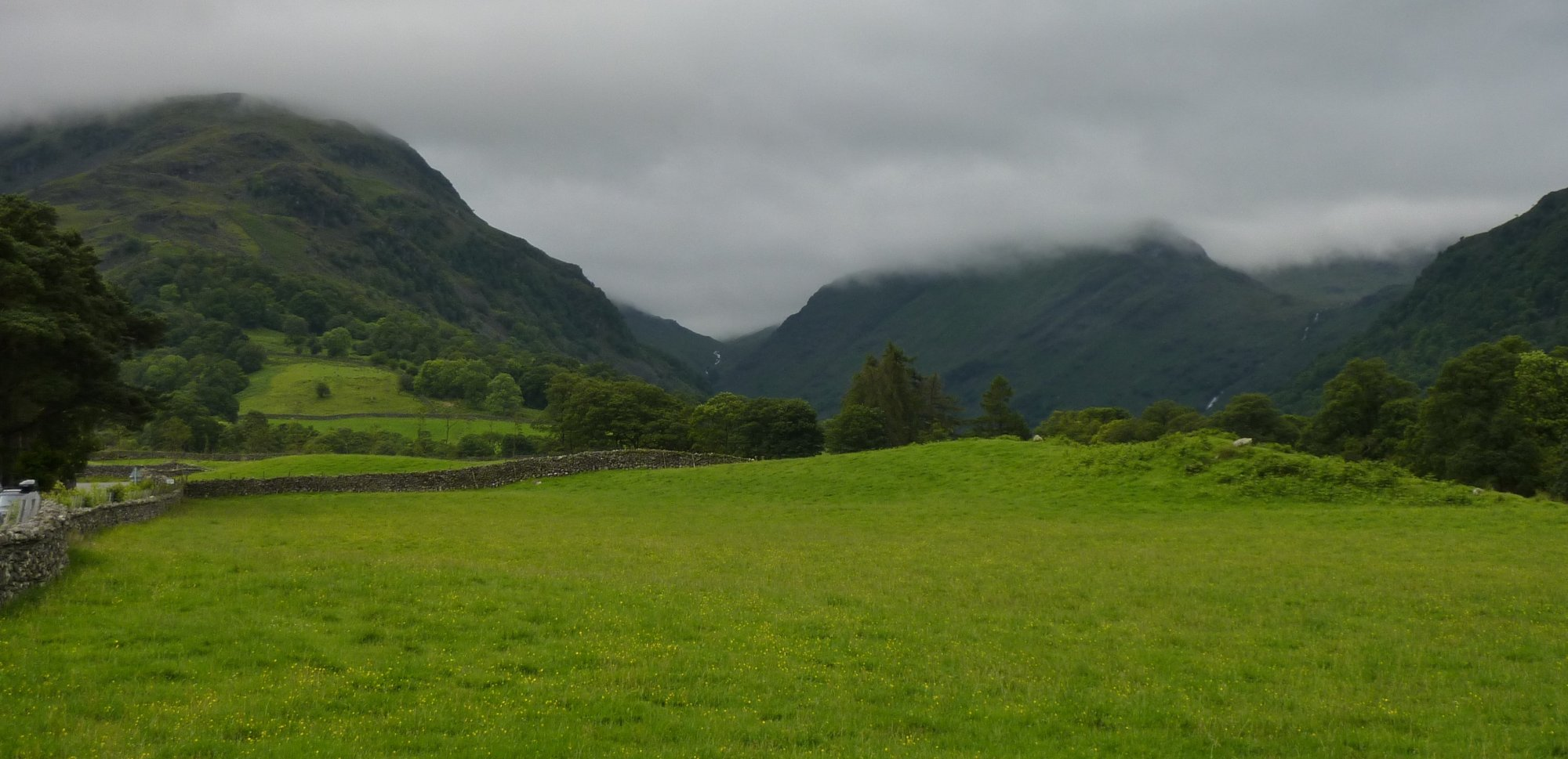 Low cloud as I leave Borrowdale