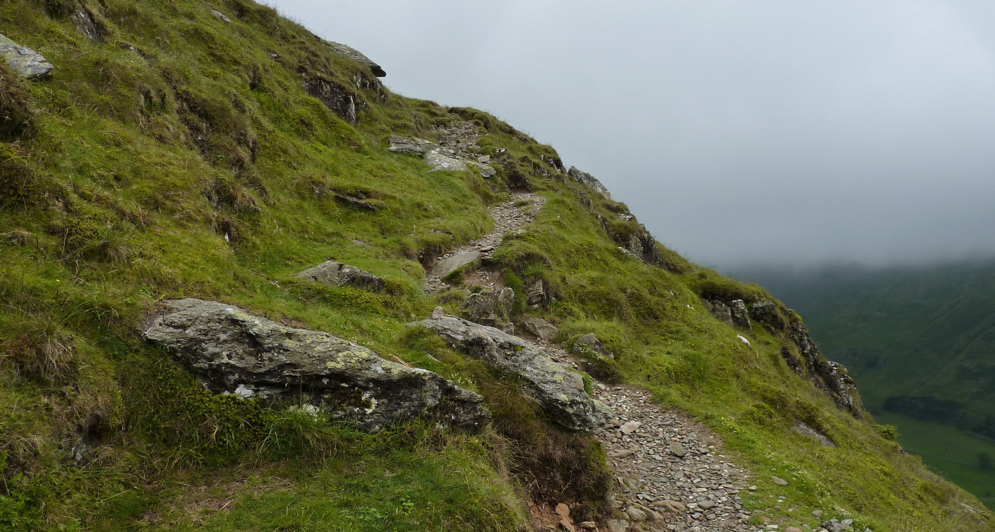Airy path above Harrison Crag on the way up to St. Sunday