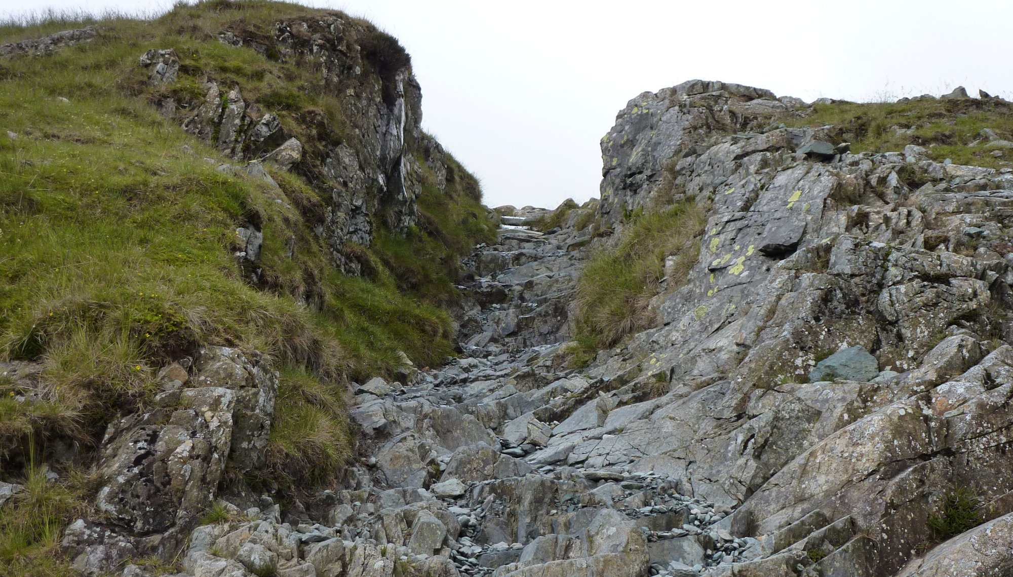 A steep climb out of Honister along the old tramway
