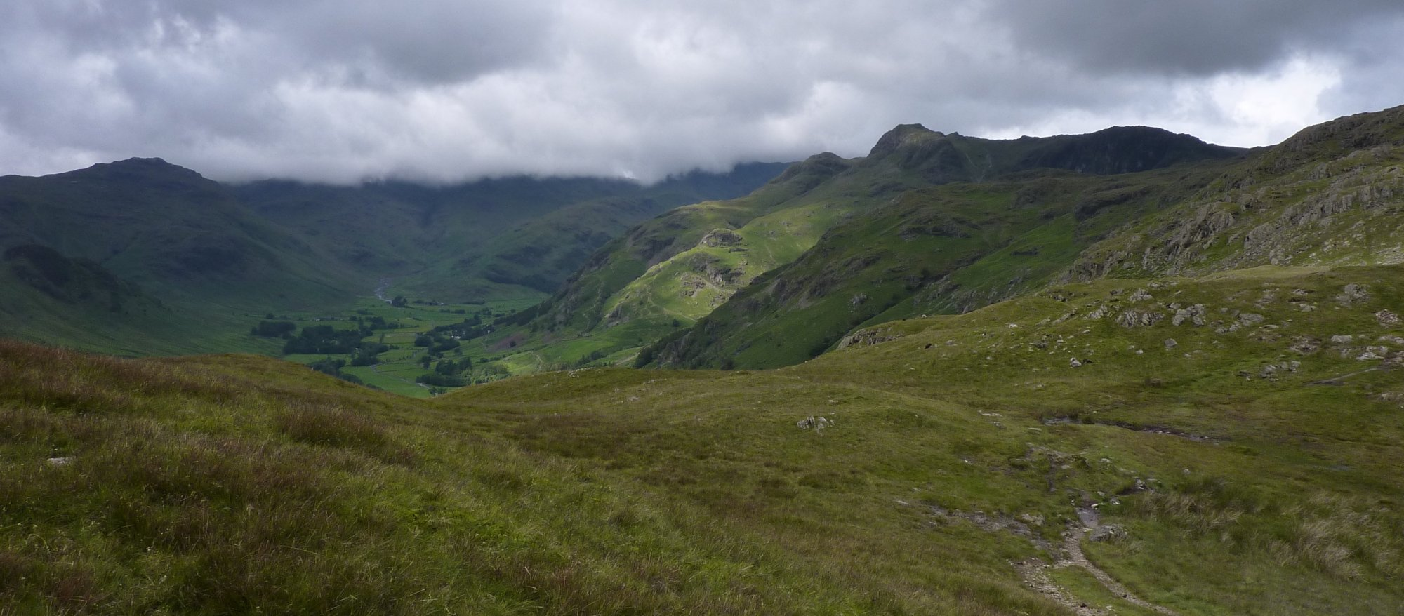 Looking down into Great Langdale