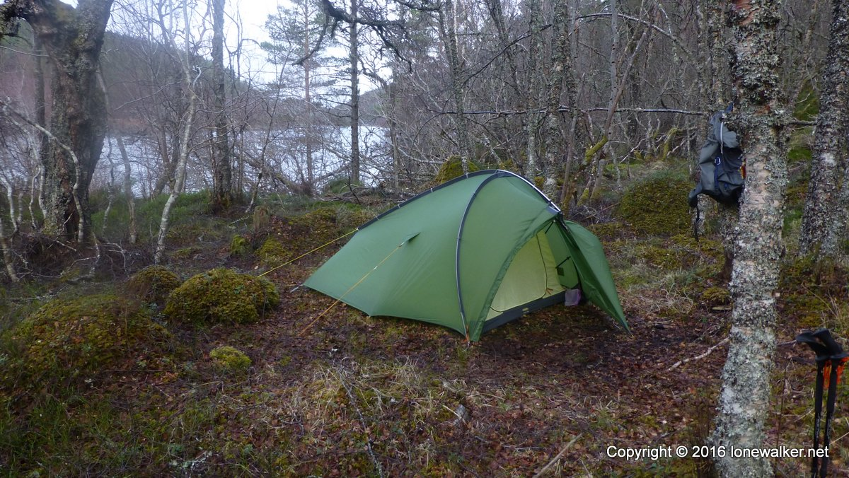 Pitched in woods beside Loch Beinn a Mheadhoin on the Affric Kintail Way