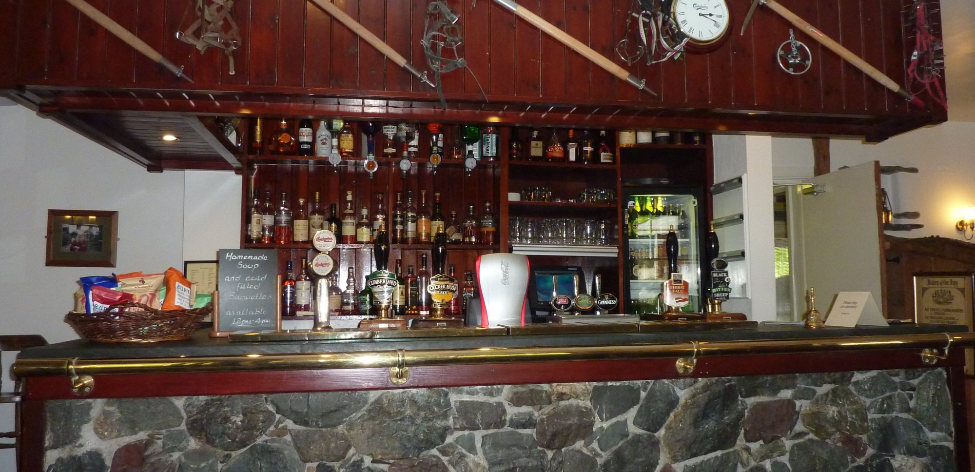 The bar in the Langstrath Inn