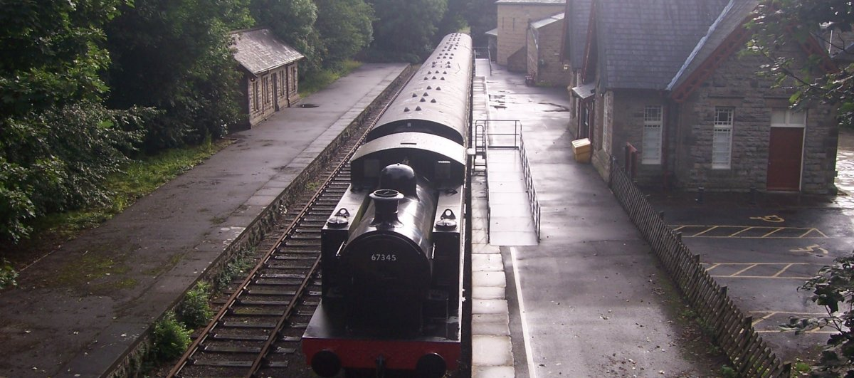 Steam train on the way out of Hawes