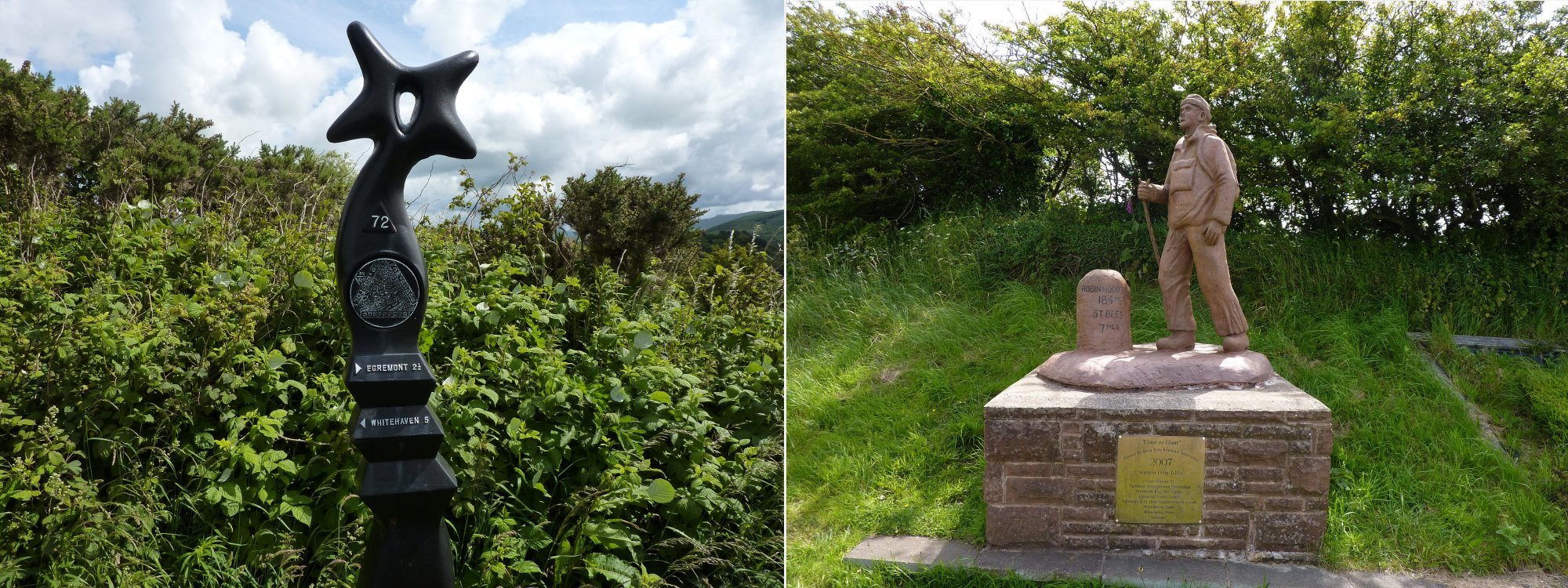 Left: Marker post on the path outside Cleator   Right:  C2C statue at Moor Row