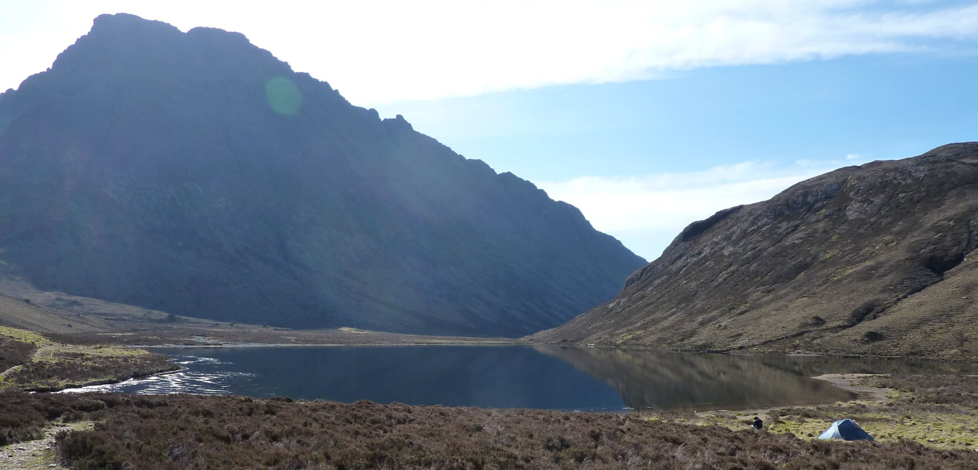 Loch an Athain with a pair of wild campers in the most amazing location