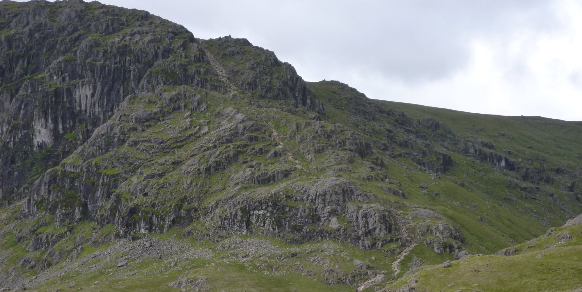 Long zoom onto Easy Gulley, up the side of Pavey Ark