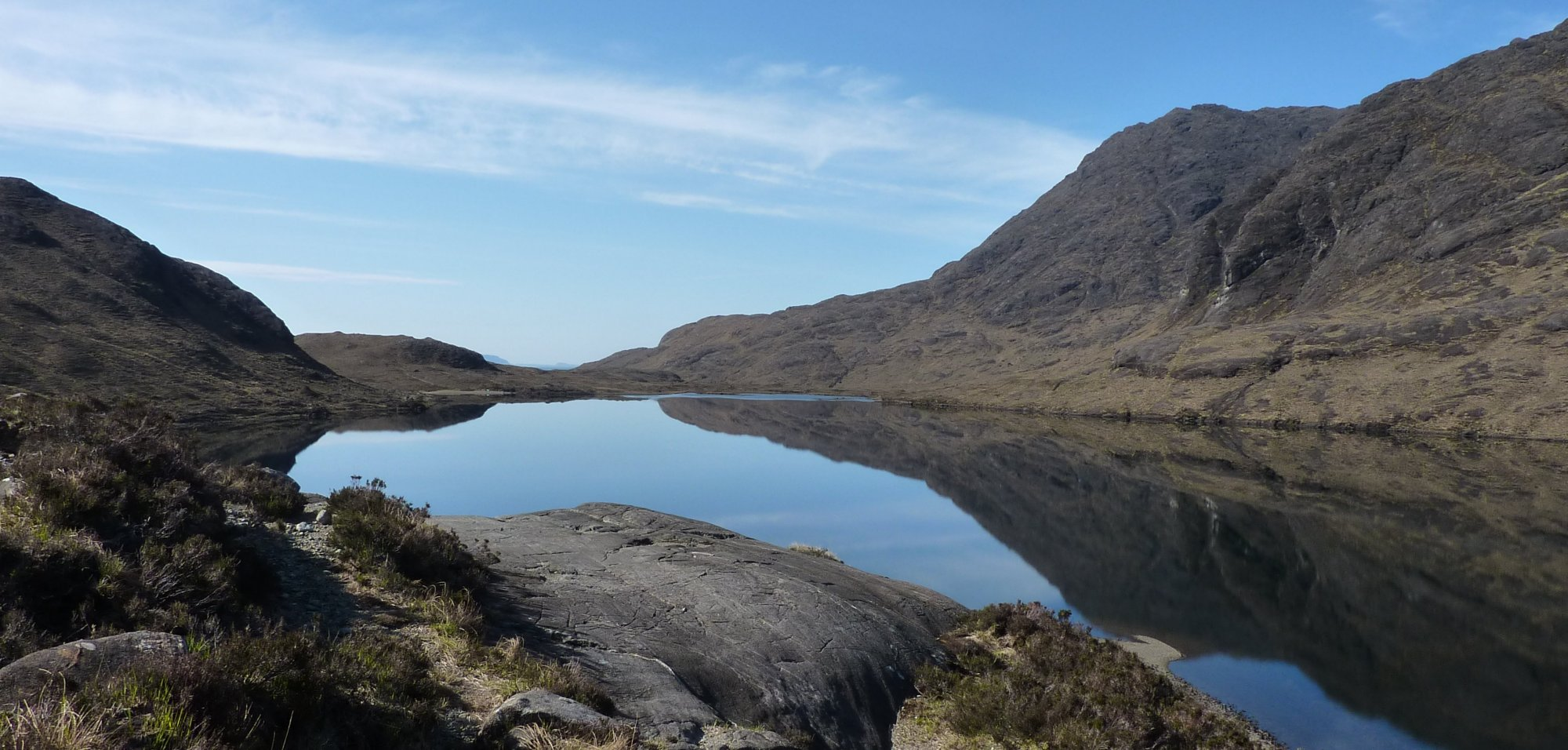Loch na Creitheach, perfectly still in the morning air - a huge mirror