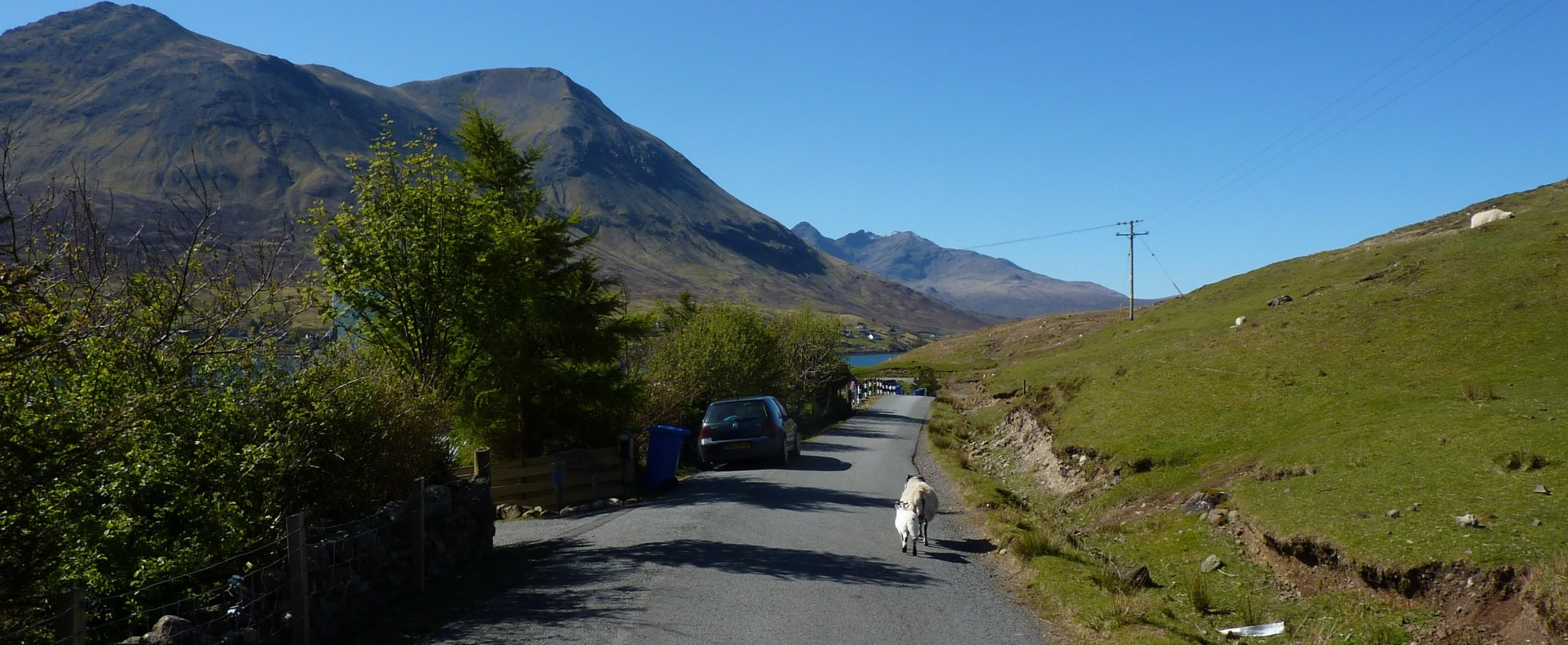 Into the sleepy little settlement of Peinachorrain and the end of the road walking