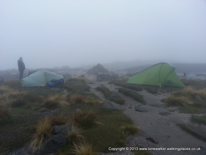 Misty camp on Kinder Low, either side of the path