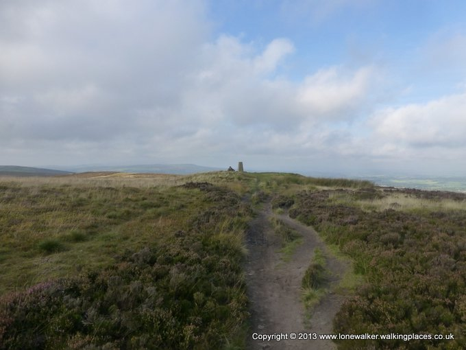 Approaching Pinhaw Beacon trig point on Elslack Moor