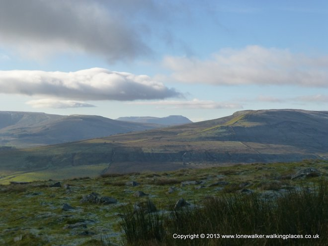 Looking across to Ingleborough on the ascent of Great Shunner Fell