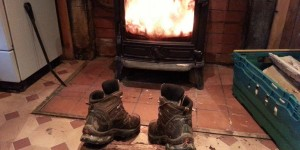 Drying boots in front of the fire