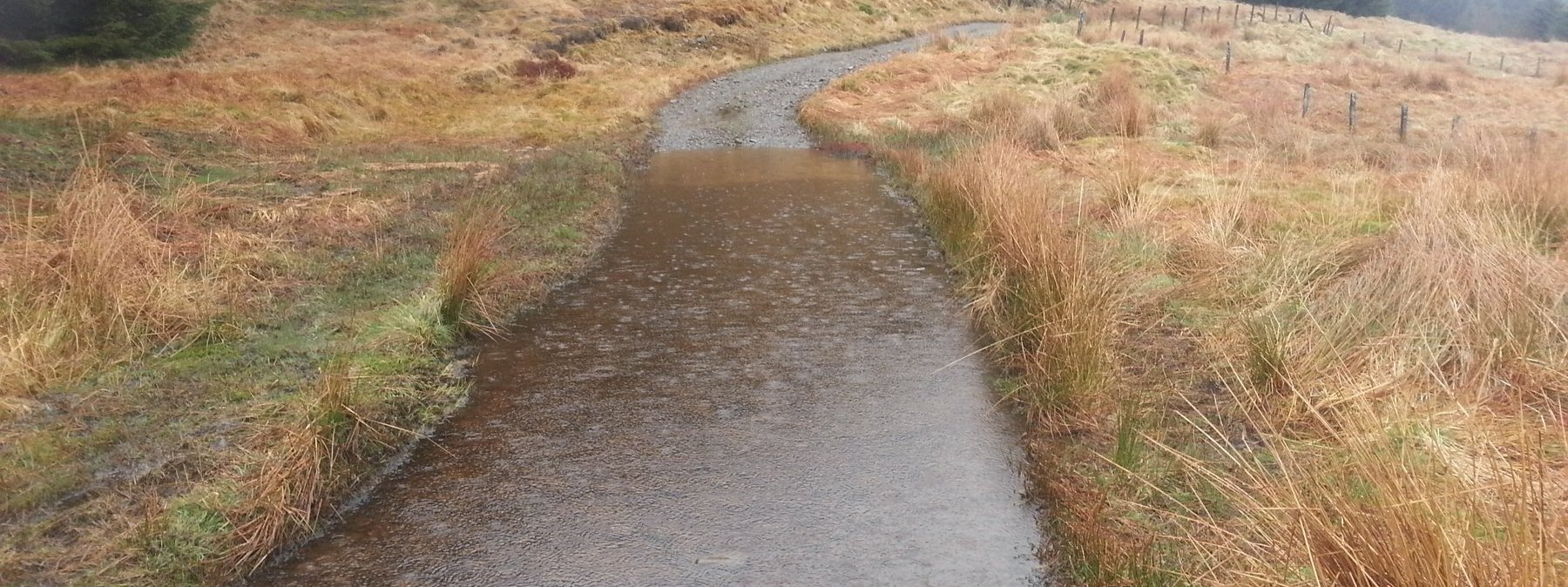 Water-logged road as I rejoin the tarmac