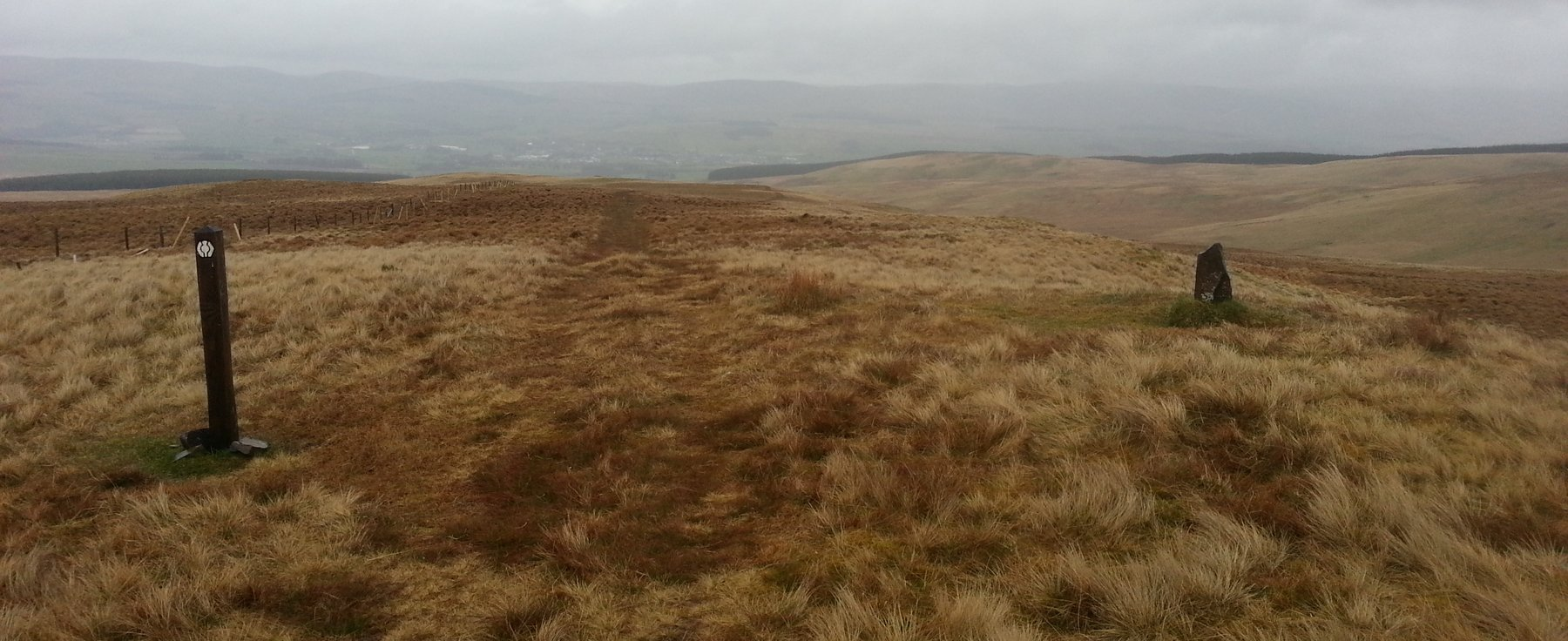 Downhill across some wet and soggy moorland into Sanquar