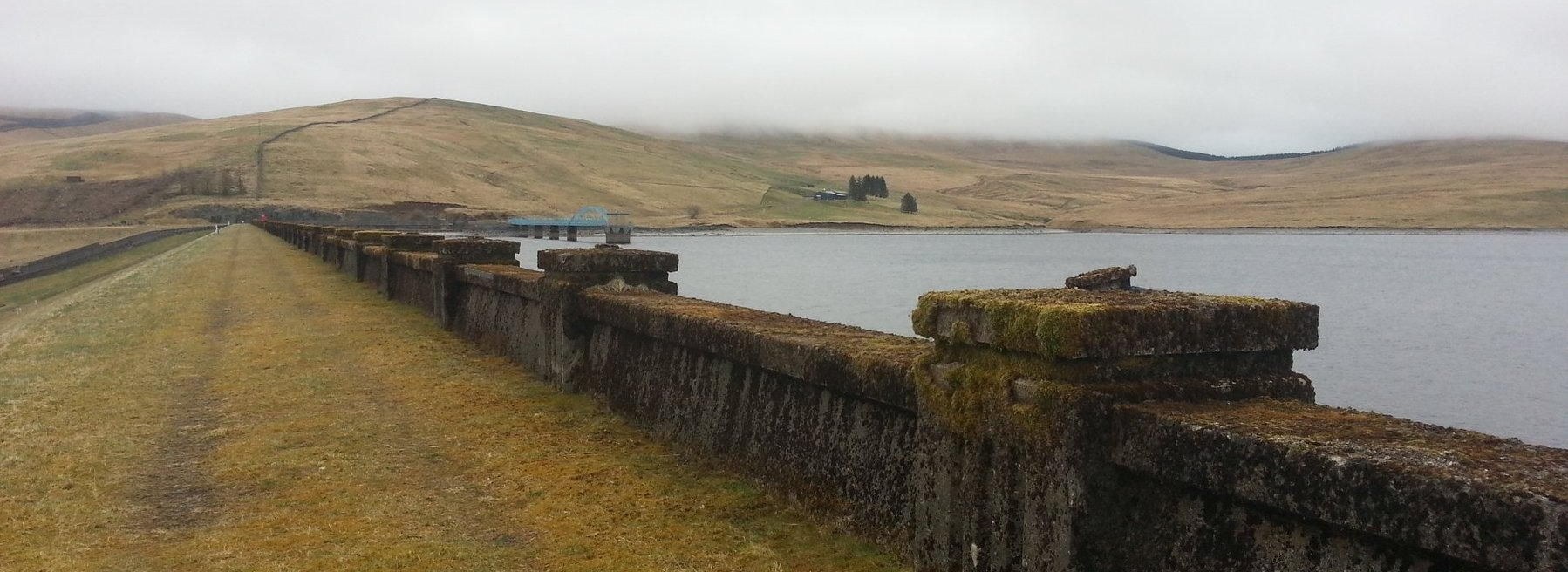 Crossing the dam at Daer Reservoir