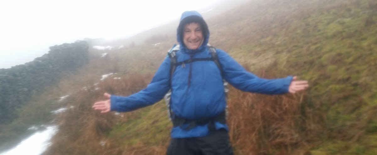 Chris, still smiling and having fun, despite the weather