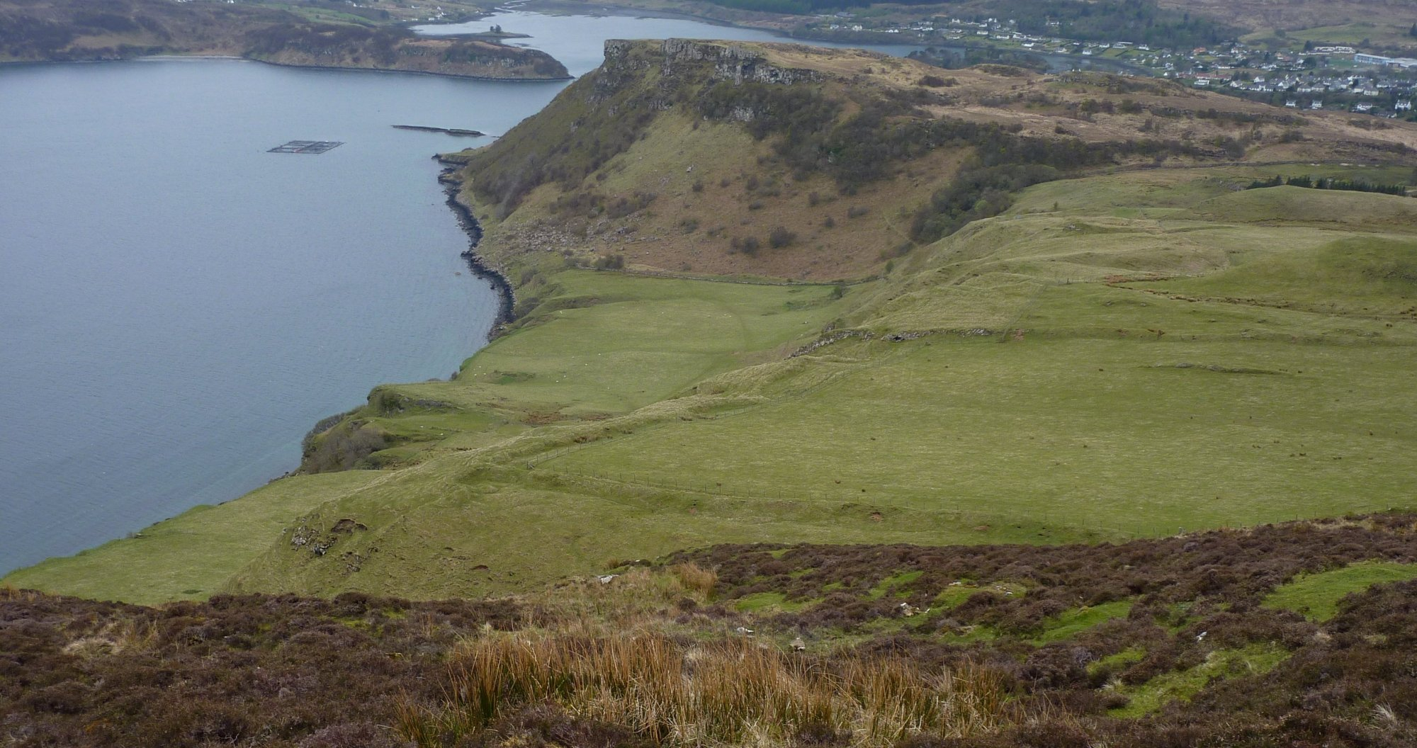 The Bile pastures of Portree, a long way below and I don't pick the best route down either