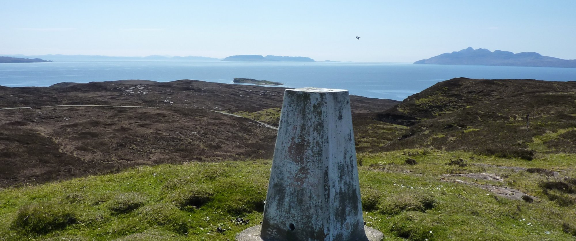 Elgol trig point with RAF fighter jet screaming away in front of me