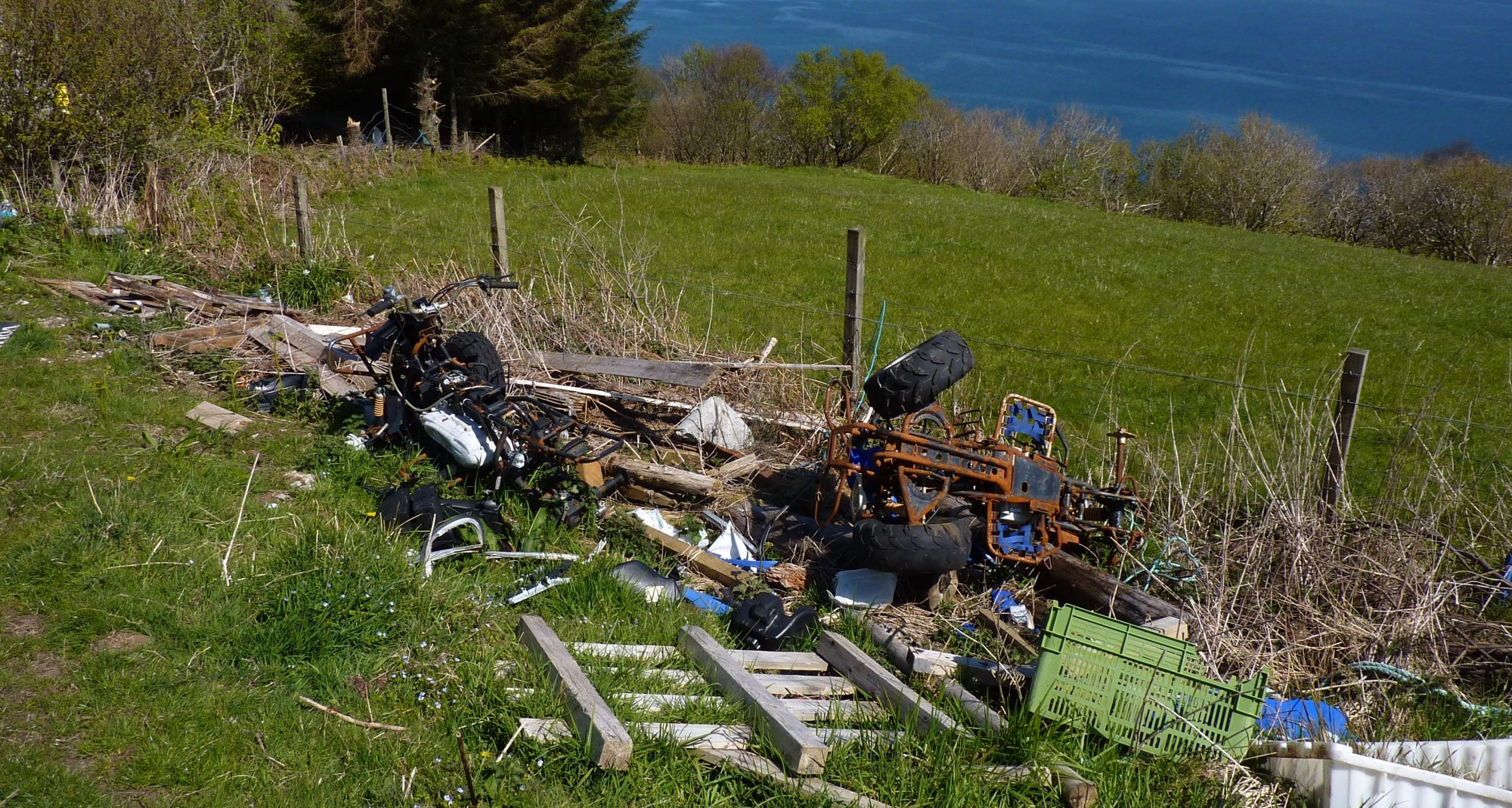 A shocking farm just outside Glasnakille - rubbish strewn everywhere