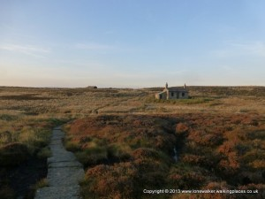 The shooting hut on Ickornshaw Moor, with the sun dying slowly