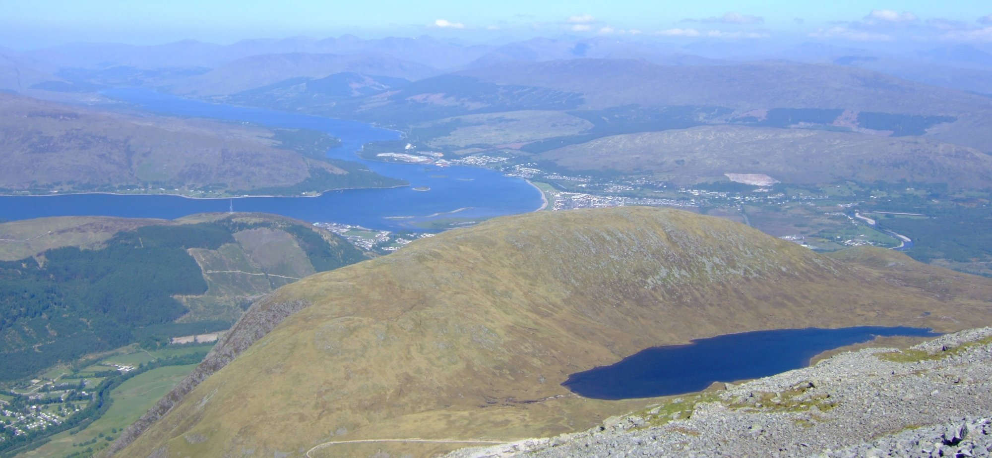 Fort William and the half-way lochan, during my descent