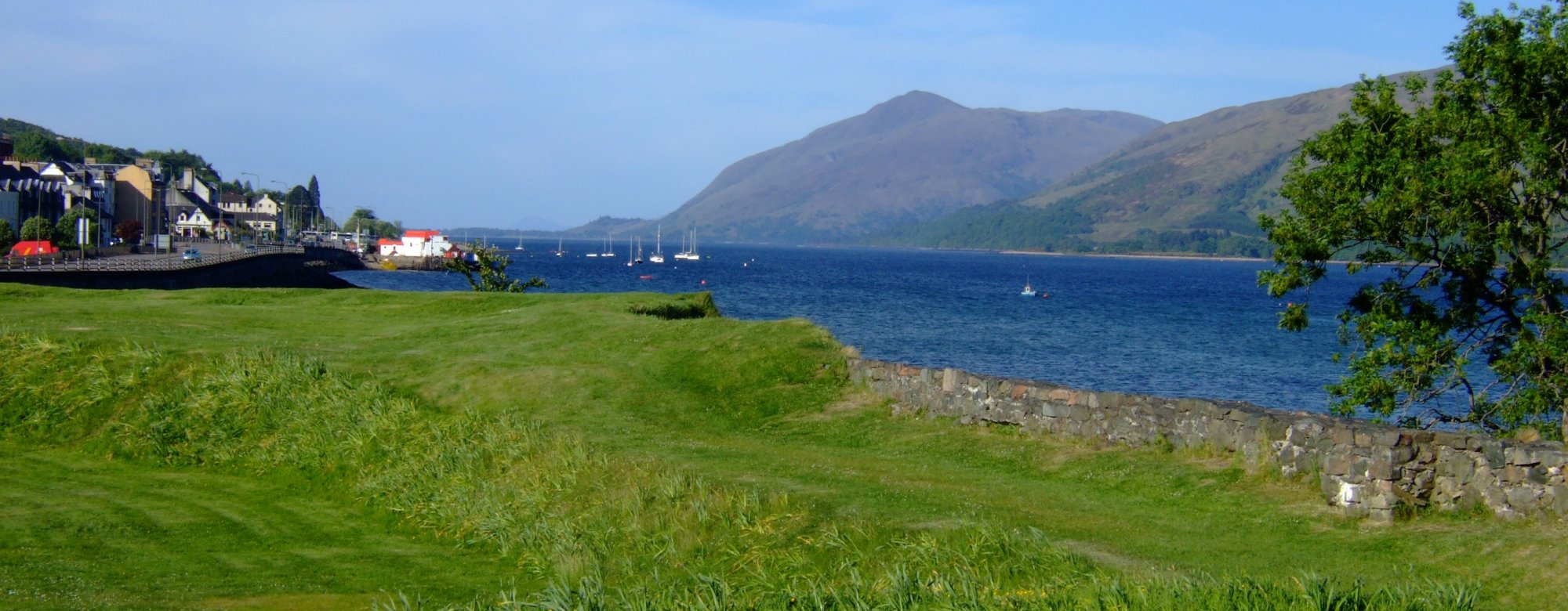 Looking south west down Loch Linnhe, from the monolith marking the start of the Great Glen Way