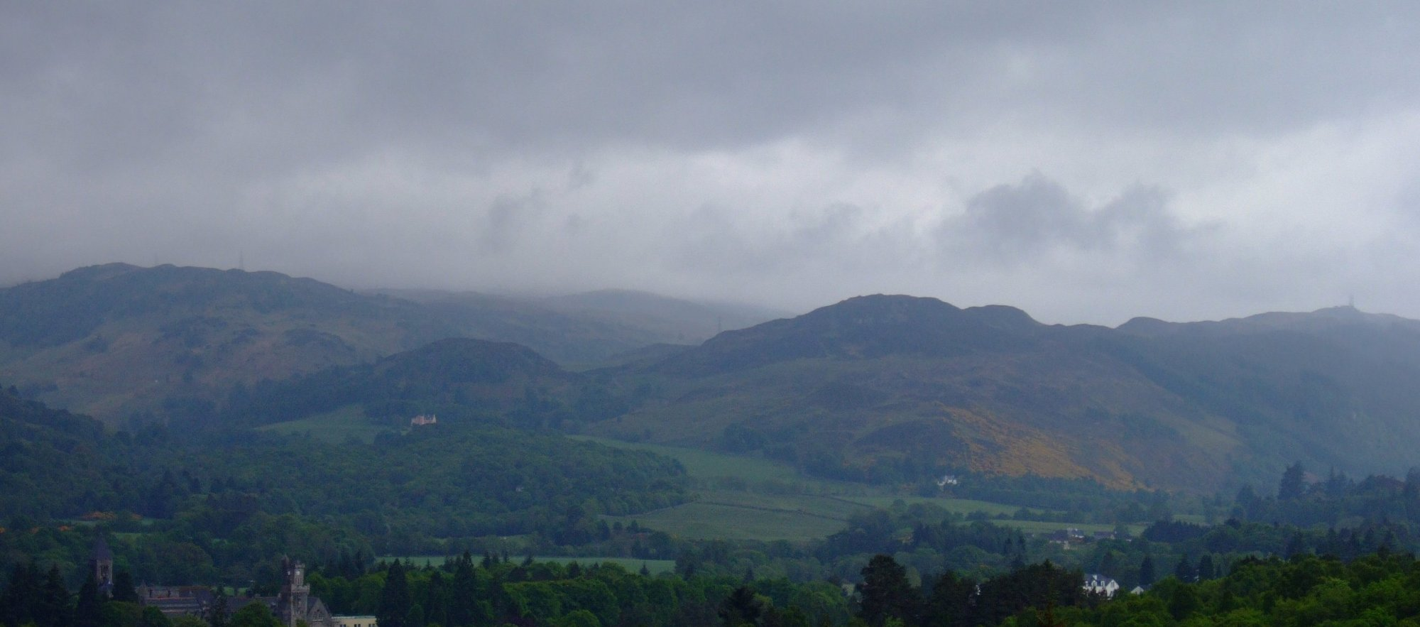 Grim looking skies above the hills