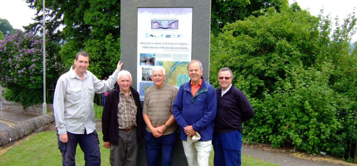 Job done! Me, Bill, Jim, John and Young Jim at the Great Glen Way finish monolith