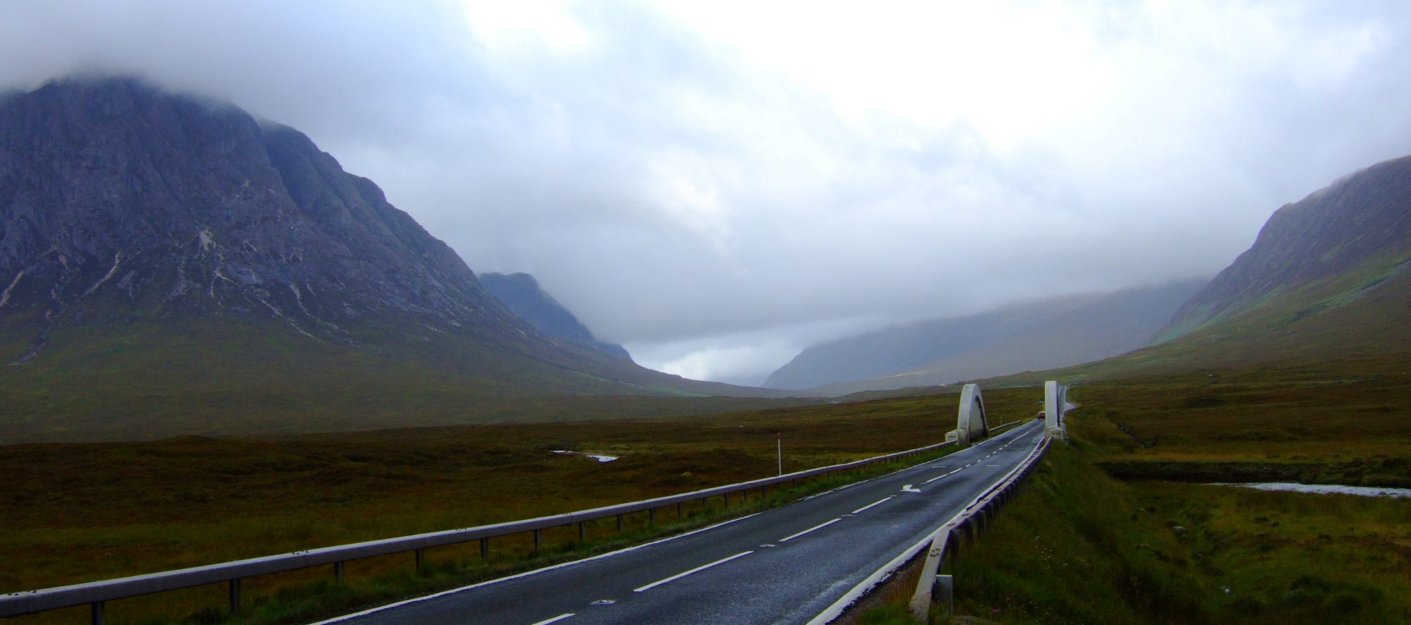 The road through Glen Coe in the daylight