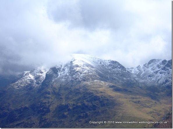 Pillar, head in the cloud, with White Pike sloping down to the bottom right hand corner of shot