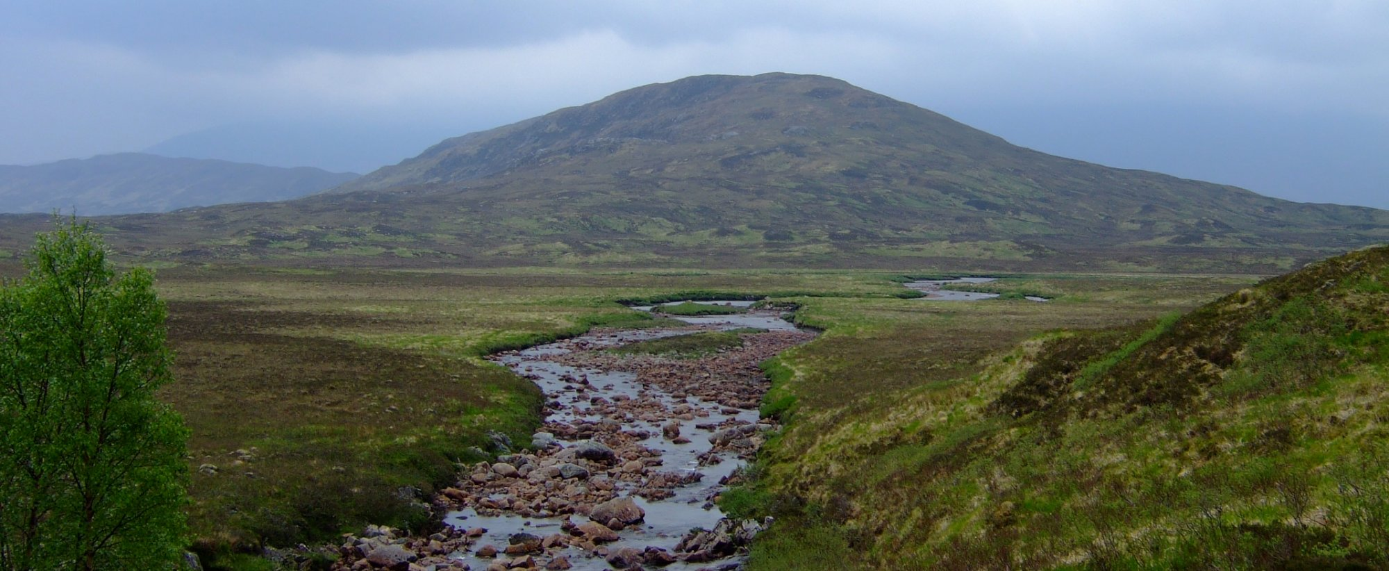 The view from Ba Bridge looking east towards Meall Beag