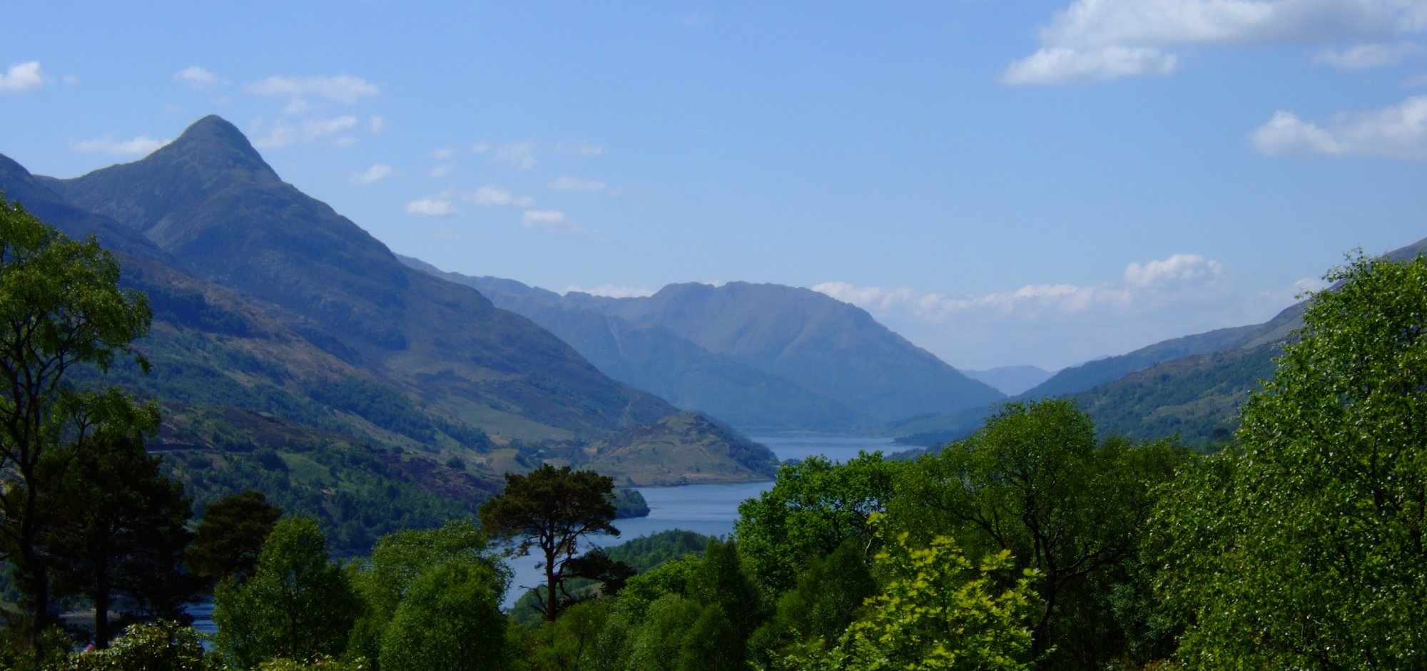 The view down Loch Leven. The Pap of Glencoe and Sgorr Dhearg on the left and Beinn na Caillich on the right