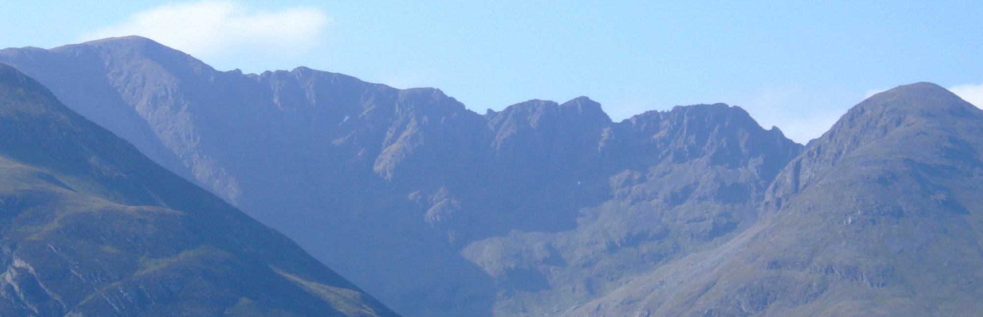 The jagged, knife-edged ridge of the Aonach Eagach