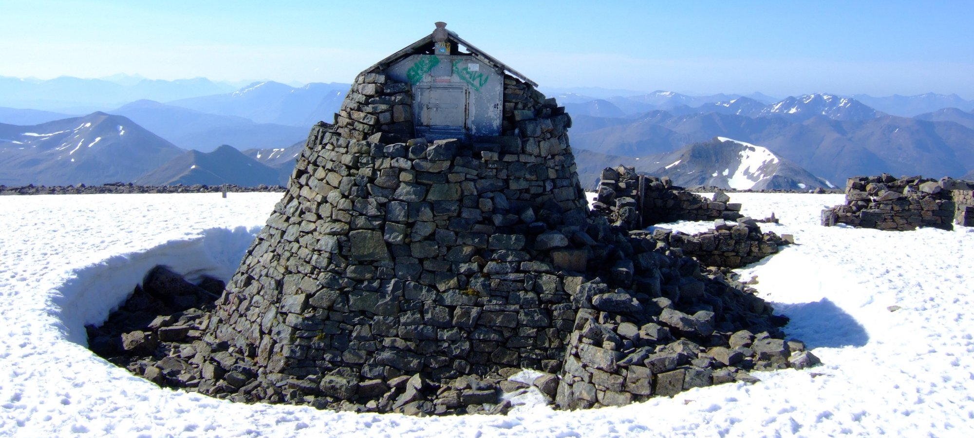 The summit shelter, formed from the remains of the Observatory