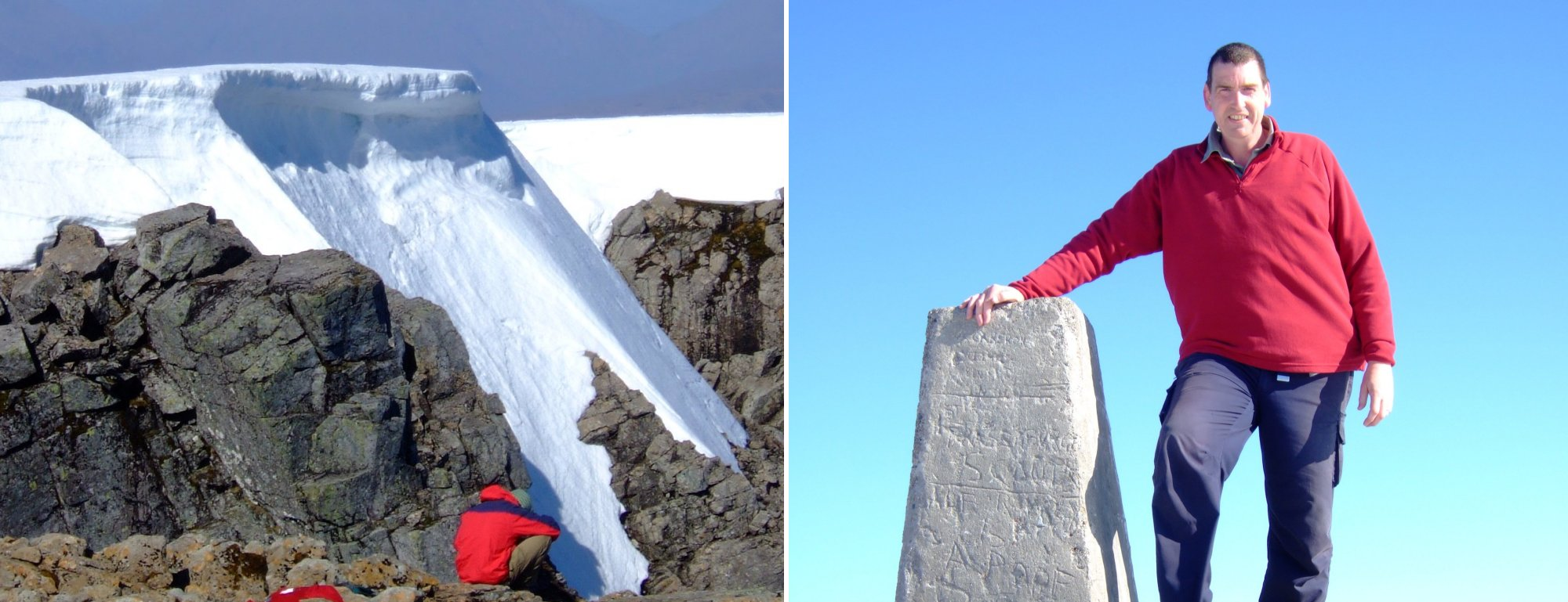 Huge snow cornice on the summit and me with the trig point