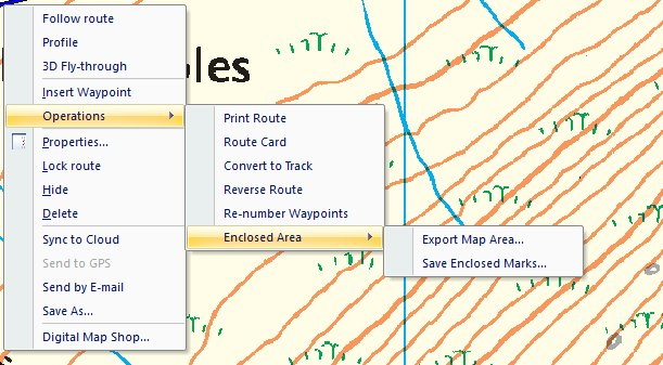 Right click options for a route