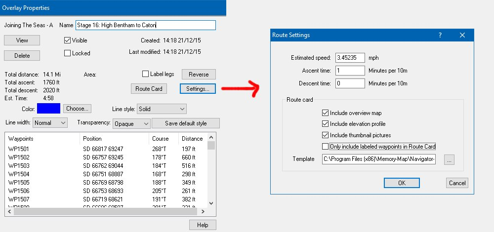Route Card options and settings