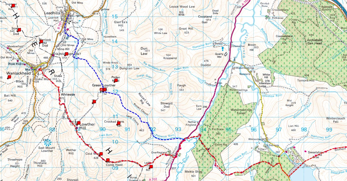 New route, from Leadhills is shown in blue, traditional route in red