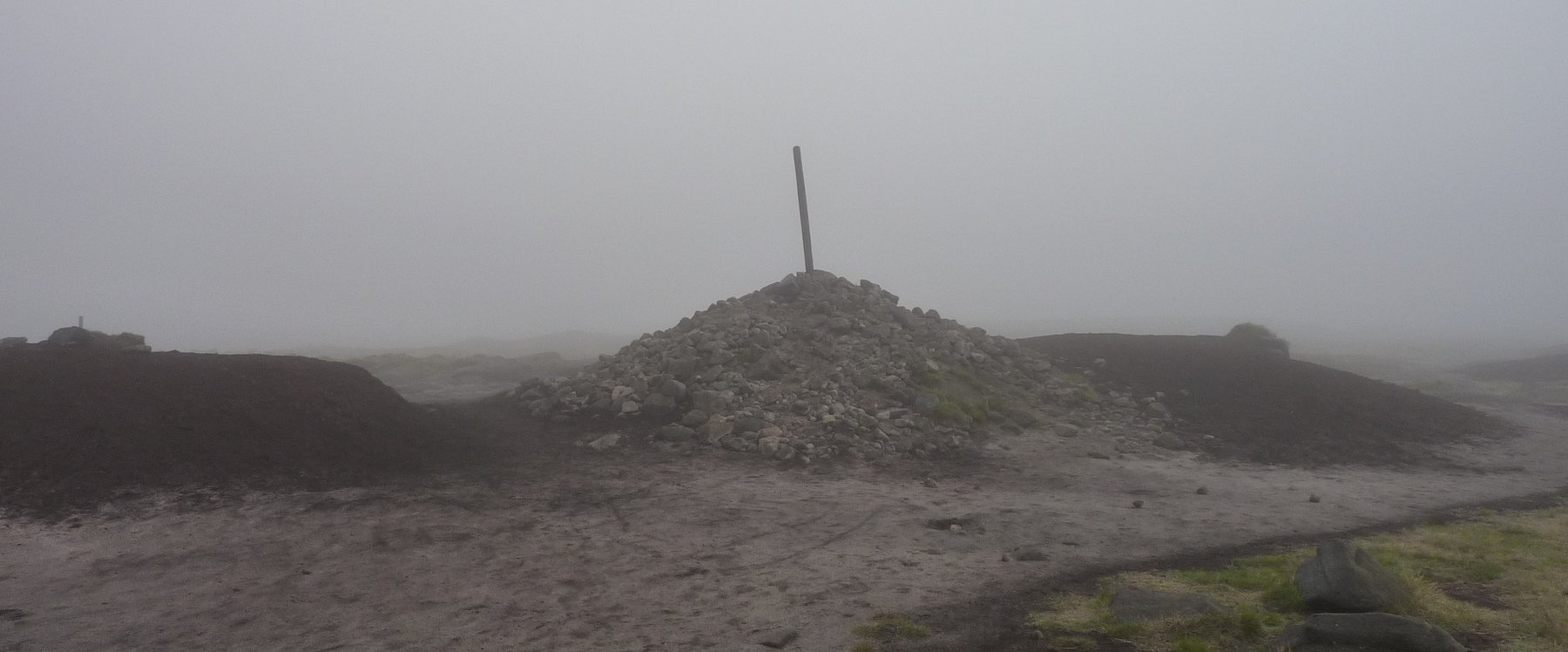 The huge cairn on the summit of Bleaklow head