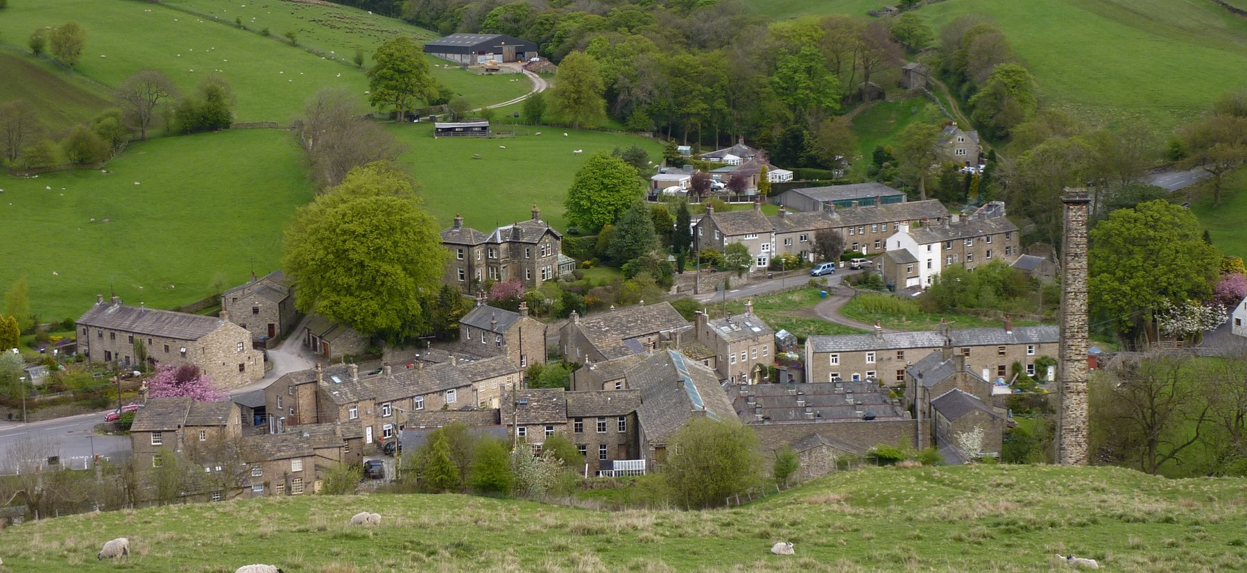 Dropping into Lothersdale with its tall chimney