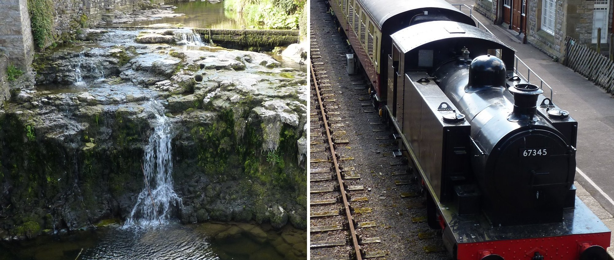 No water in the falls at Hawes and the steam train at Hawes Museum