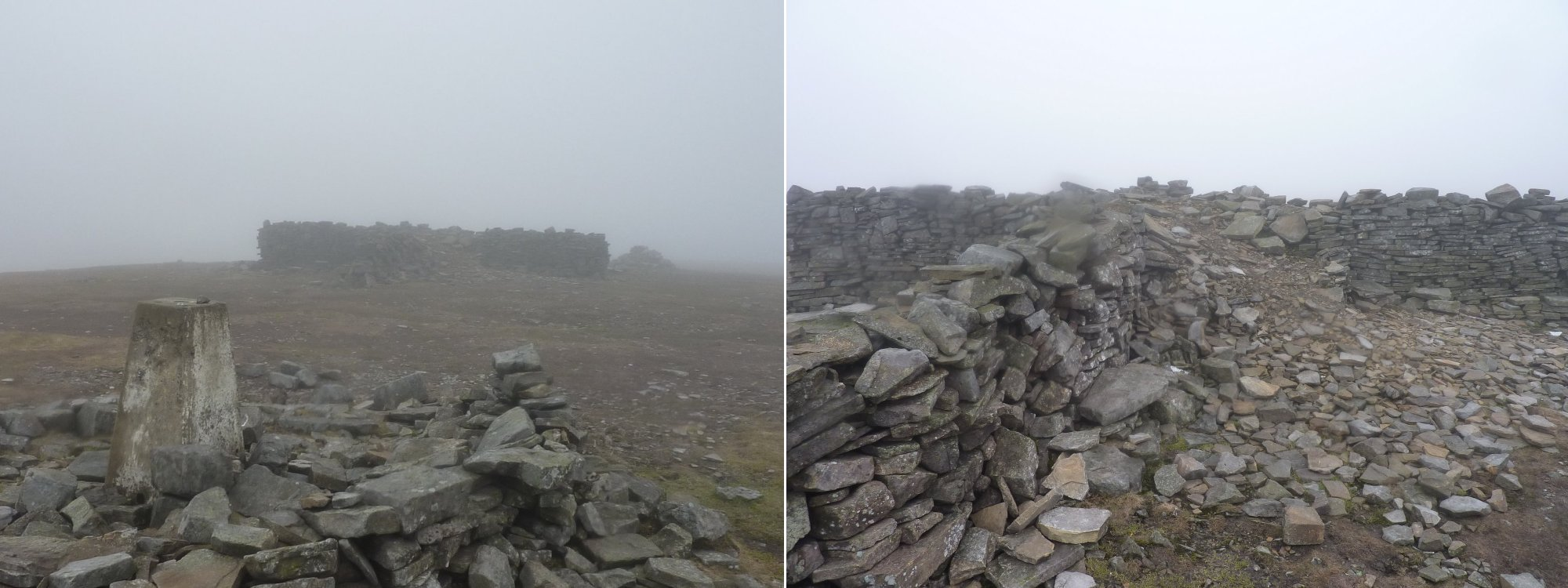 Left: Trig point and shelter on Cross Fell      Right: Mostly collapsed shelter on Cross Fell