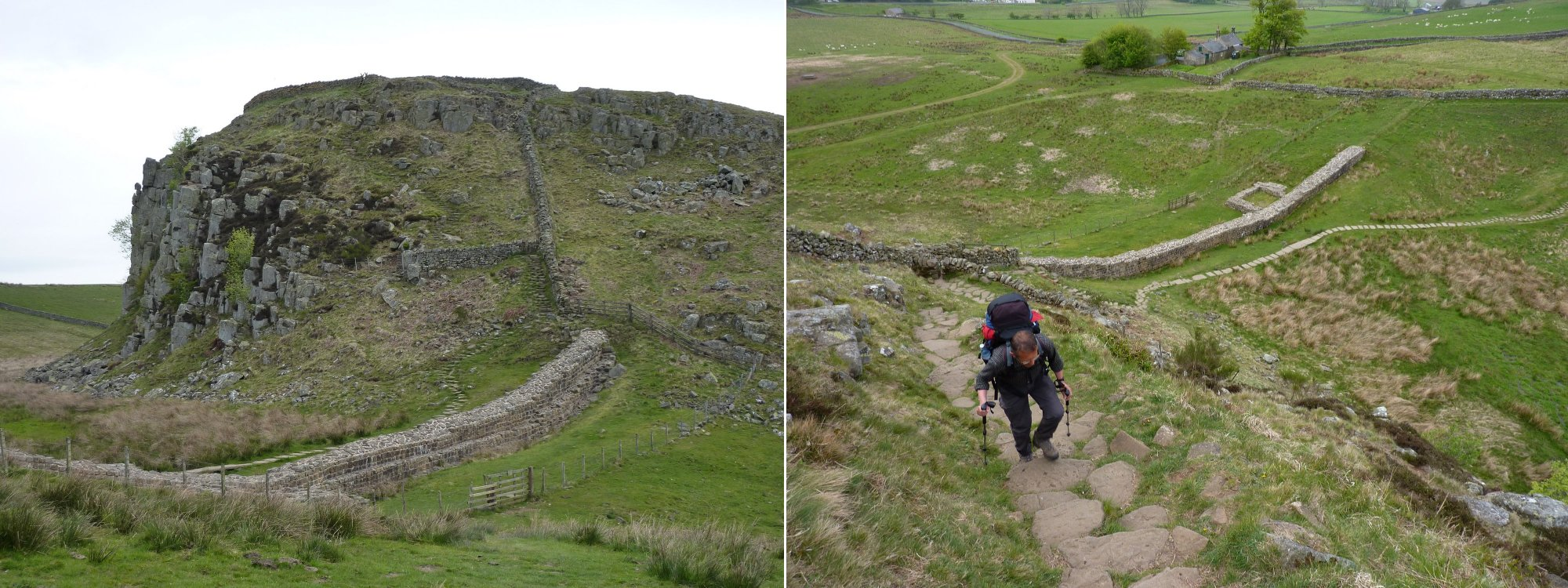 Left to Right: First climb of the day - Steel Rigg, Tony climbs the steps on Steel Rigg