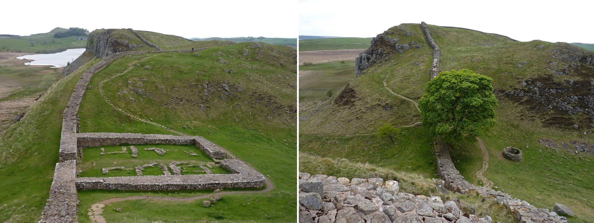 Left to Right: Milecastle 39, An unconventional view of Sycamore Gap