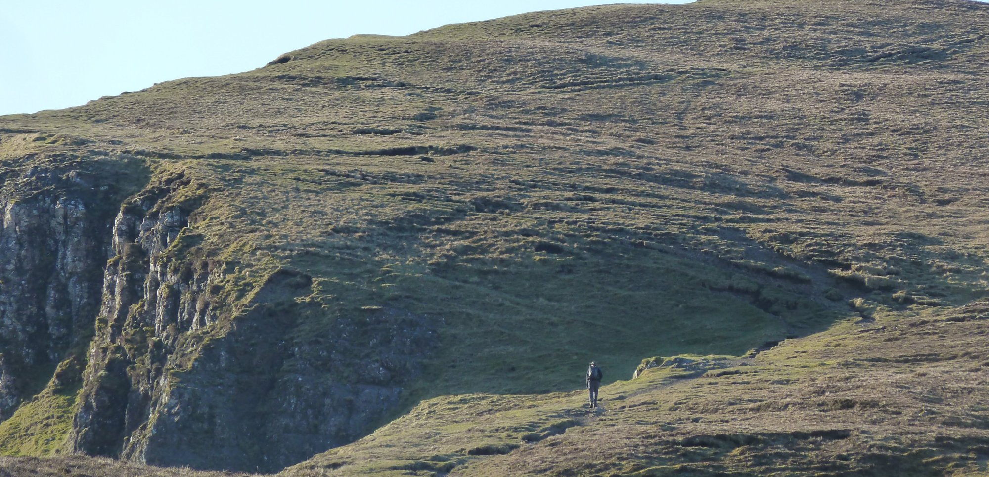 Climbing up onto the Trotternish Ridge from the Quiraing car park