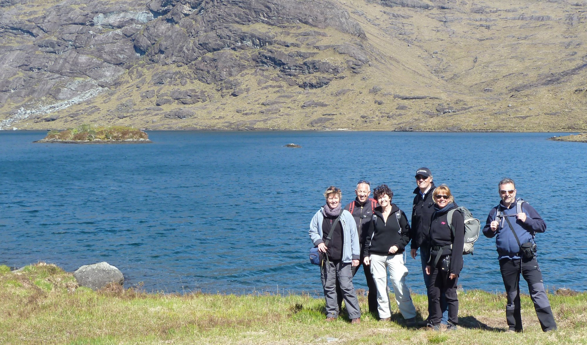 Roger's photo of the Dutch walkers beside Loch Coruisk