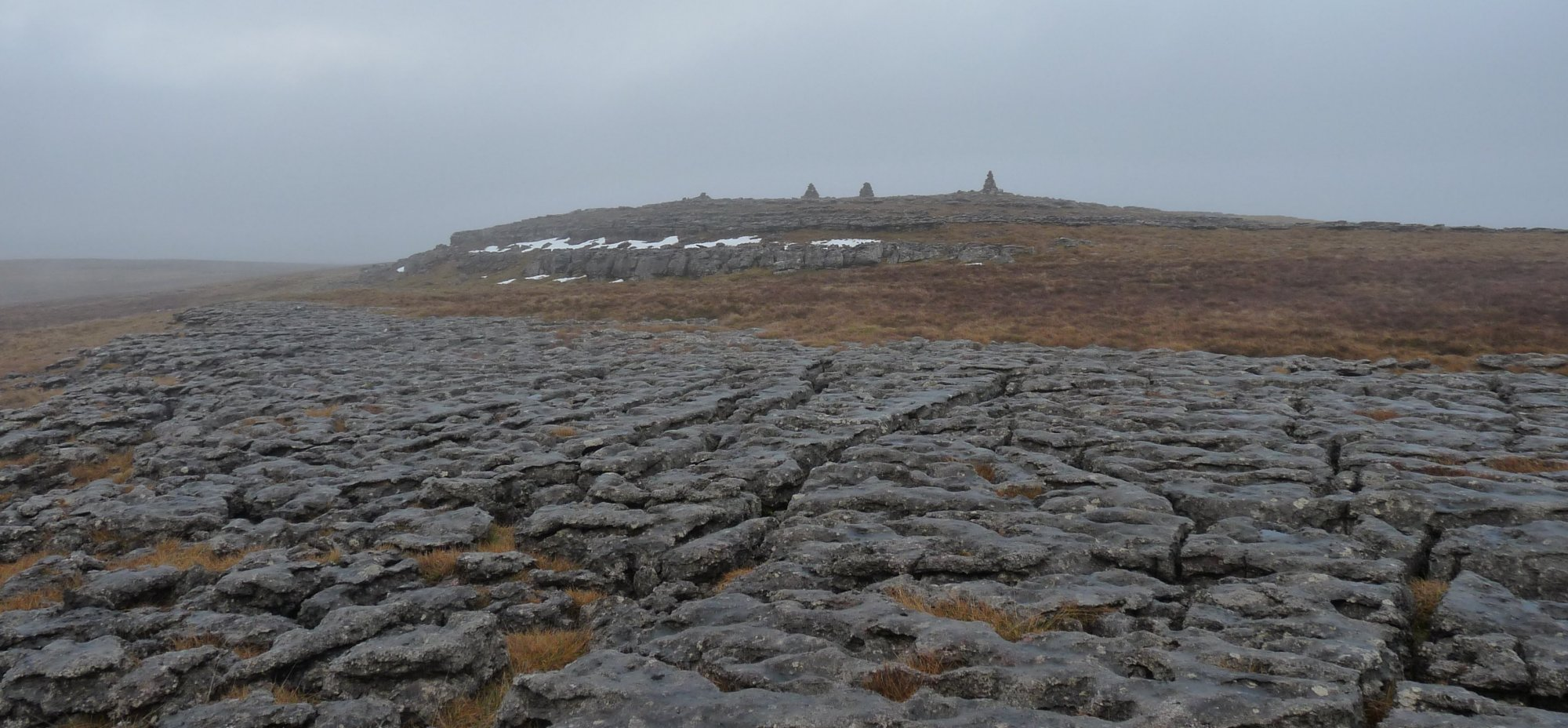 Cairns and limestone pavement on the Castle Folds route