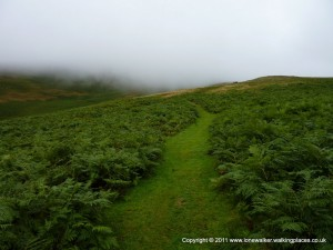 Heading up into the mist on Brown Moor