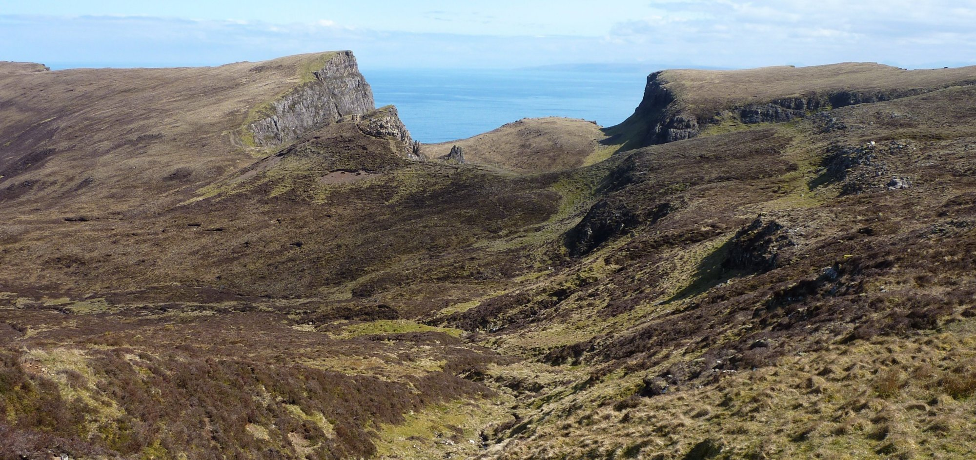 The beautiful landscape of the Quiraing ridge, beneath and behind me